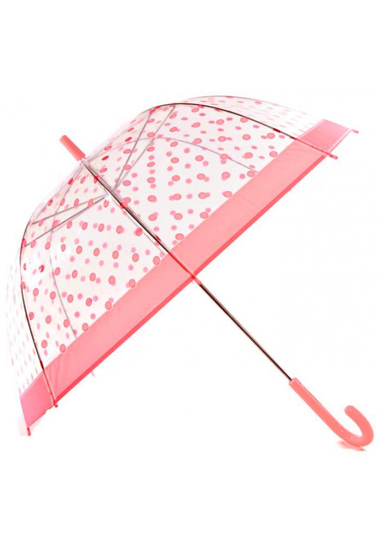 regenschirm clear dome durchsichtig mit rosa punkten